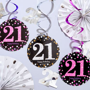 21st Blue Glitz Decorations