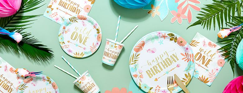 Boho Girls' 1st Birthday Party Supplies