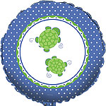 "Mr Turtle Polka Dots Green & Blue Balloon - 18"" Foil - unpackaged"
