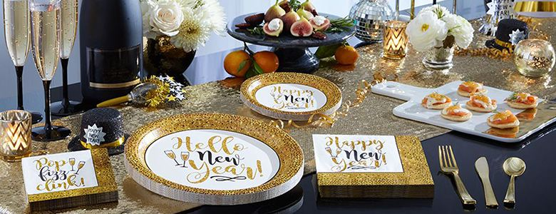 Gold Glitter New Year Party Supplies