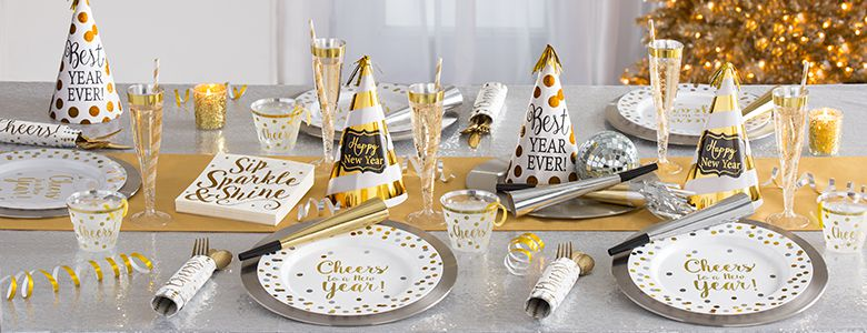 Premium Gold New Year Party Supplies