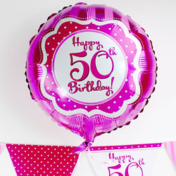 Perfectly Pink Happy 50th Birthday Balloon