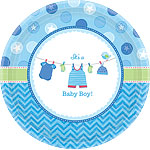 Boy's Shower With Love Plates - 26cm Paper Party Plates