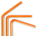 Orange Plastic Flex Straws