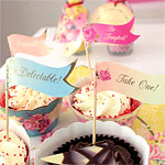Vintage inspired vintage Rose cupcake //canape picks pack of 20 Tea party wedding